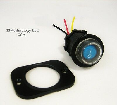 Sealed Covered Waterproof Rocker Toggle Switch Spst Marine 12v Panel Lighted Blu