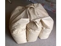 Bean Bag Chair Bed Folding - Cream Leatherette