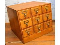 1940s oak nine draw cabinet card index holder storage industrial antique vintage haberdashery
