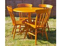 Solid Pine Table & 4 Chairs Set