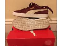 Puma suede classic trainers in burgundy and white, size 4, worn once.
