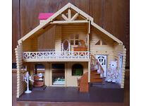 B&M large dolls house with garden, 38 x 27 x 38cm, multicoloured light
