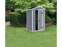Keter Manor Plastic Garden Shed ( Grey colour )- 4 x 3 feet -- Brand New Boxed, £ 160