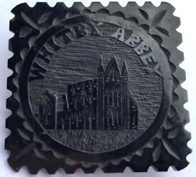 Antique Victorian Whitby Jet Brooch Whitby Abbey Pin Mourning Brooch