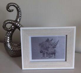 NEW ORIGINAL CUTE 'ANIMAL WITH OFFSPRING' DRAWING Rhinoceros & calf Framed OR Unframed A5 Print