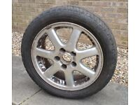 Saab wheel and 205/50 ZR16 low profile tyre in great condition.