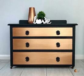 Metallic copper and black Chest of Drawers