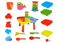 SAND & WATER 4 SECTION TABLE BUCKET SPADE KIDS OUTDOOR GARDEN SANDPIT SET 127