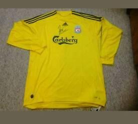 Pepe Reina signed Liverpool GK shirt