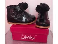 Infant Girls Patent Black Boots - Sizes 3-8
