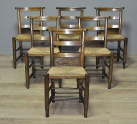 Attractive Set Of 6 Six Vintage Beech Church Chairs With Holders, Dining or Cafe
