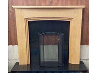 "Woodform 52"" Ullswater Natural Oak Mantle c/w 54"" Black Granite Back and Hearth"