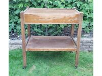 Vintage wooden tea trolley with green felt-lined drawer in need of tlc or upcycling