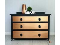 Black Chest of Drawers with metallic copper drawers