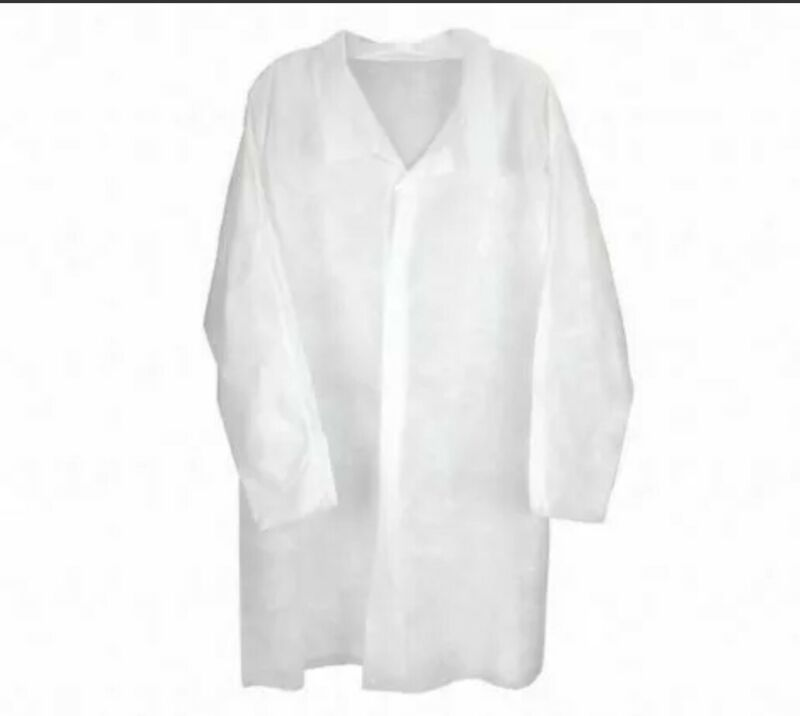 2- LAB COATS SIZE XL,  FRONT, WHITE, BRAND NEW