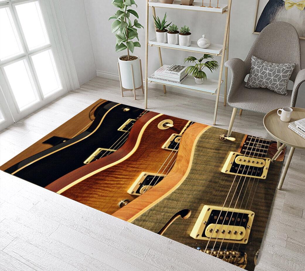 Three Colors Guitar Pattern Area Rugs Kids Bedroom Carpet Li