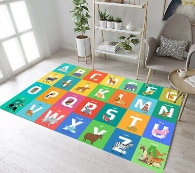 Game Learning Home Decor Animal Alphabet Floor Area Rugs Room Crawling -