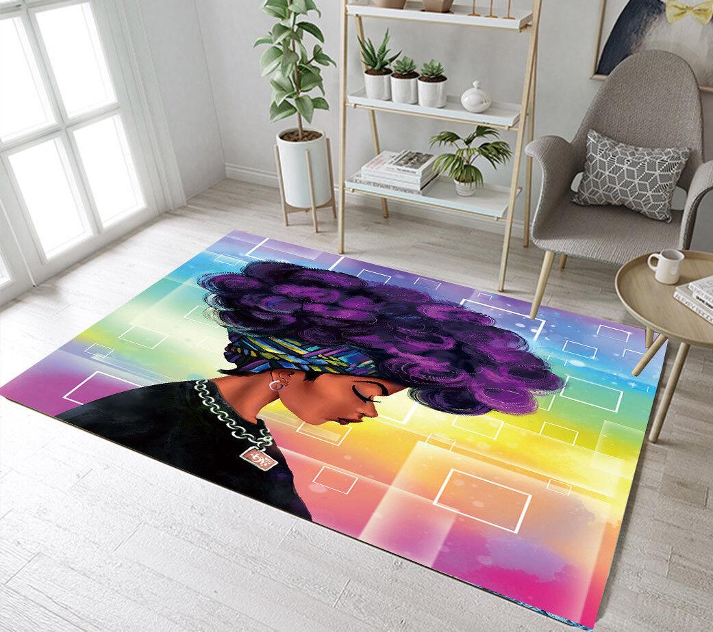 Floor Mat Purple Afro Hairstyle African Black Girl Bedroom L