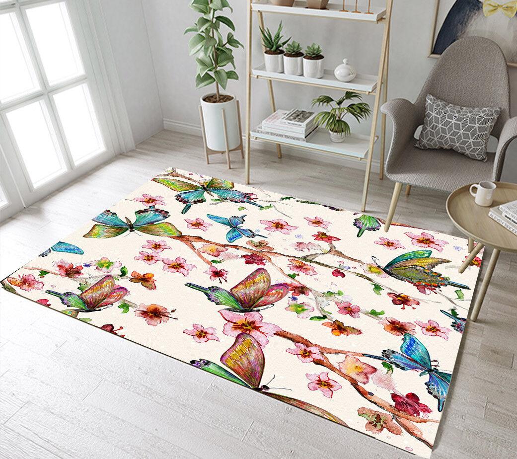 Area Rugs Carpet Butterfly Spring Flower Nursery Floor Rug K