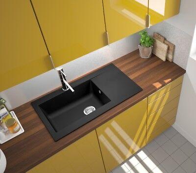 Spüle Küchenspüle Einbauspüle Mineralite Spülbecken 86 x 50 schwarz respekta