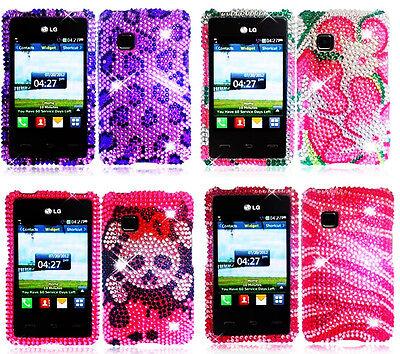 Full Bling Diamond Cover Case for TracFone Wireless LG 840G LG840G 840 G Phone Full Diamond Bling