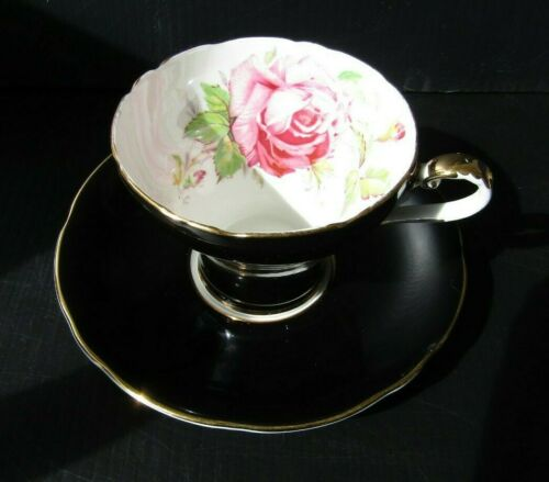 Aynsley Vintage Black Corset With Pink Cabbage Rose Antique Teacup and Saucer