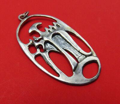 ER Israel Vintage Sterling Silver Pendant Abstract Modernist Designer 186g