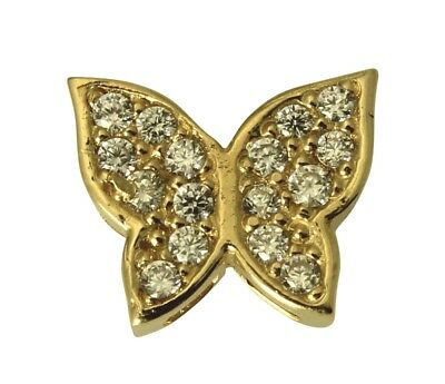 14K Real Yellow Gold Butterfly Tiny Charm Pendant Cubic Zirconia