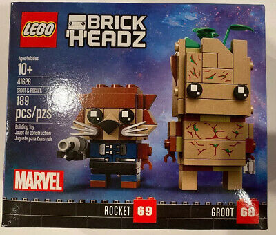 NEW LEGO Brickheadz 41626 Groot & Rocket Marvel 189 Pcs RETIRED Ships From US