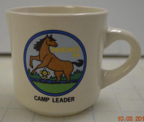 RARE BSA BOY SCOUTS OF AMERICA COFFEE CUP MUG CHEROKEE 89 CAMP LEADER 10 YEAR