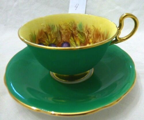 Aynsley Orchard Fruit Tea Cup & Saucer Emerald Green Signed D. Jones - Repaired