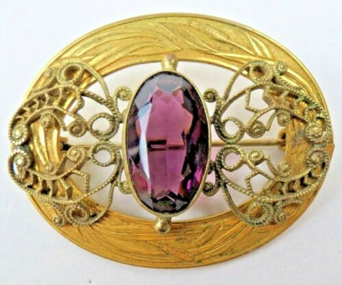 Gorgeous Victorian Gold Filigree Engraved Cattails Purple Stone Buckle Brooch