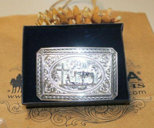 New in Box Montana Silversmiths Belt Buckle Cowboy Kneeling @ Cross