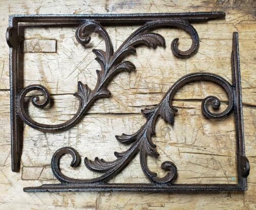 4 Cast Iron Antique Style HUGE VINE IVY Brackets Garden Braces Shelf Bracket HD