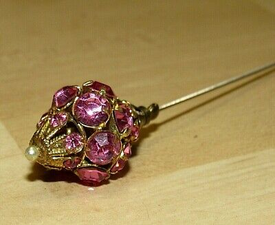 """ANTIQUE VICTORIAN PINK RHINESTONE SEED PEARL GOLD TONE HAT STICK PIN 4 5/8"""""""