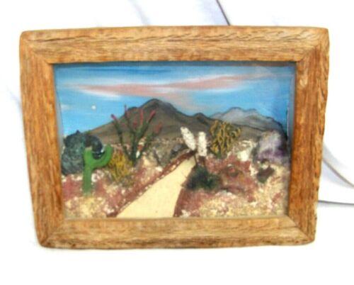 Mid Century Desert Scene Relief Diorama Wood Frame Cacti Cactus Tucson AZ 1949
