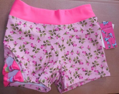 NWT CAPEZIO Hot PINK  Betsey Johnson rose bud shorts w/ cut out Girls sizes