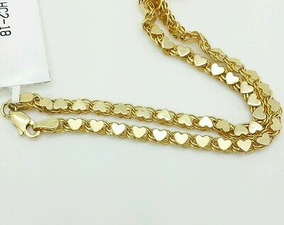 "14k Solid Yellow Gold Heart Link Anklet Chain 10"" 3.3mm Women"