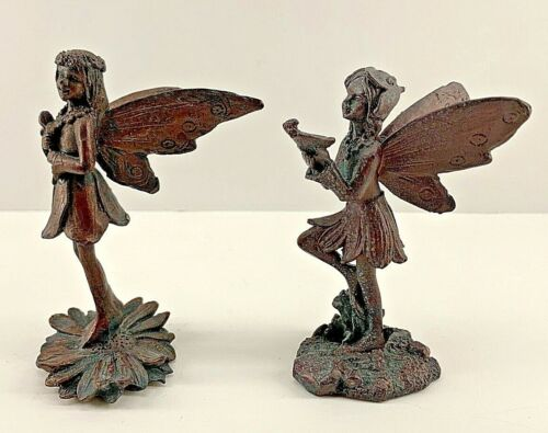 Fairy Statues Resin Faux Bronze Patina Set of 2