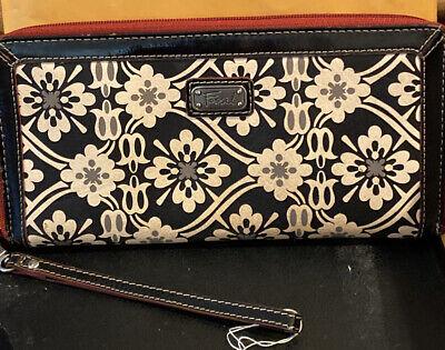 "Fossil  Zip Around Women's Leather Wristlet/Wallet 9"" X 5"" Black/Red W/ Pattern!"
