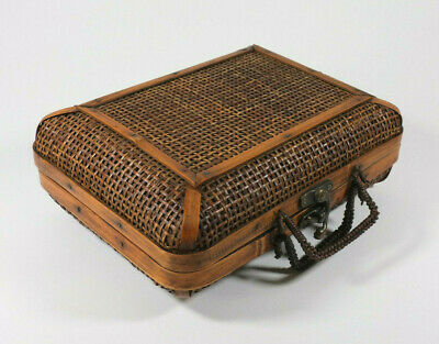 Wicker Basket Rattan, Bamboo, Suitcase Style, Metal Swing Arm Latch/Hinges