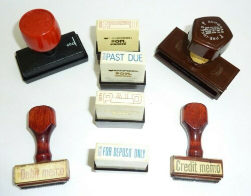 Vintage Lot Of 8 Business Office Rubber Stamps Wood Plastic INDUSTRIAL STEAMPUNK