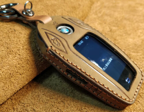 Brown+Genuine+Leather+Remote+Key+Case+Cover+For+BMW++Display+Key