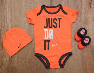 Orange Infant 3 Piece (Nike Baby Boy 3 Piece Hat, Bodysuit & Booties Set ~Orange, Gray & White ~ 0-6M)
