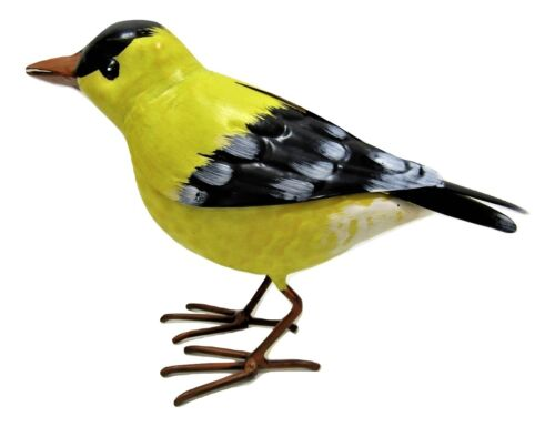 Small Rustic Summer American Goldfinch Finch Metal Tin Song Bird Figure