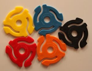 10 New 45 RPM RECORD INSERT ADAPTERS - 2 EACH OF 5 COLORS