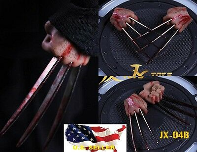 In Stock 1 6 Wolverine Logan Metal Bloody Claw Hands Realistic Hair Worldbox