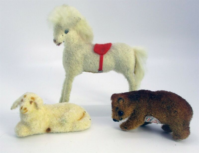 3 Wagner Handwork Kunstlerschultz Flocked Mini Horse Bear Lamb West Germany