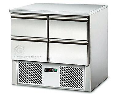 [SAS97E4] Saladette / Kühltisch 0,9mx0,7m - mit 4 Schubladen