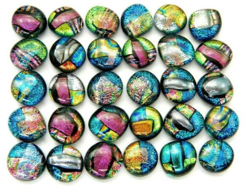 MULTI COLORS Lot 30 pcs gorgeous DICHROIC earring bracelet FUSED GLASS (L14) cab